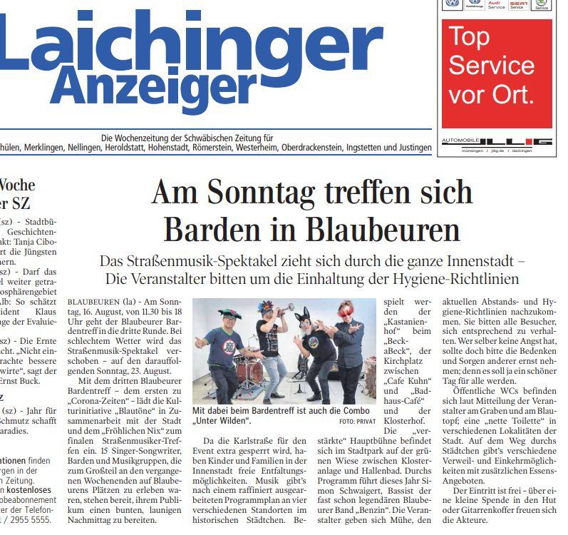 LaichingerAnzeiger_Ankündigung Bardentreff2020